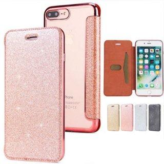 iPhoneケース 手帳型 クリア iPhoneSE iPhone11 iPhone8 iPhoneXS Max iPhoneXR スマホ 携帯 ケース カバー 画面 割れ防止 レザー ラメ