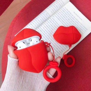 Airpodsケース Bluetooth ワイヤレス イヤホン Airpods/Airpods2対応 くちびる 収納ケース リップ 唇 イヤホンカバー エアポッズ ケース 保護ケース