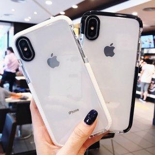 iPhoneケース クリア おしゃれ iPhoneSE iPhone11 iPhone8 iPhoneXR iPhoneXS Max スマホ 携帯 ケース カバー 韓国風 シンプル 黒 白