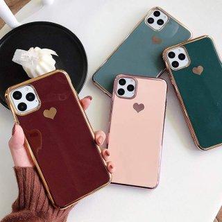 iPhoneSE ケース ハート iPhone11 iPhone8 iPhoneXR iPhoneXS スマホ 携帯 ケース カバー おしゃれ 韓国 ゴールドフレーム 可愛い
