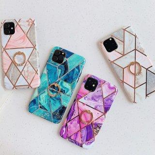 iPhoneSE ケース リング付き 大理石柄 iPhone11 iPhone8 iPhoneXR iPhoneXS スマホ 携帯 ケース カバー 落下防止 高級感 韓国