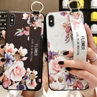 iPhoneSE ケース 花柄 ベルト付き iPhone11 iPhone8 iPhoneXR iPhoneXS Max スマホ 携帯 ケース カバー  和柄