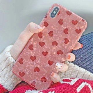 iPhone ケース ハート シェル柄 iPhoneSE iPhone8 iPhone11 iPhoneXR iPhoneXS Max スマホ 携帯 ケース カバー