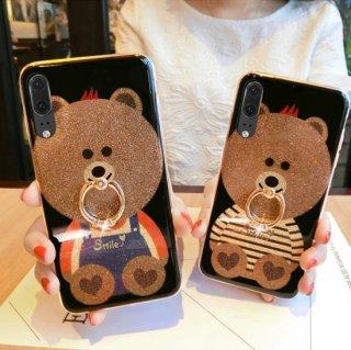iPhoneSEケース iPhone11ケース iPhone8 iPhoneXR iPhoneXS Max アイフォン 11pro 8 xr スマホ 携帯 ケース カバー 熊 ラメ リング付き