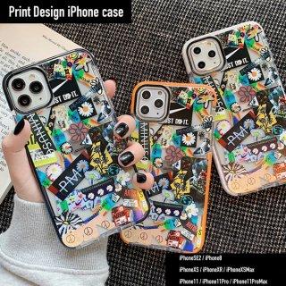 iPhone SE ケース iPhone8 iPhone11 iPhoneXR iphoneXS スマホ 携帯 ケース カバー ロゴ ステッカー コラージュ アート クリア おしゃれ 韓国