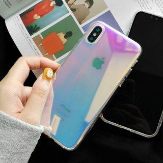 iPhone ケース クリア オーロラ iPhoneSE2 iPhone11 iPhone8 iPhoneXR iphoneXS シンプル スマホ 携帯 ケース カバー おしゃれ 韓国