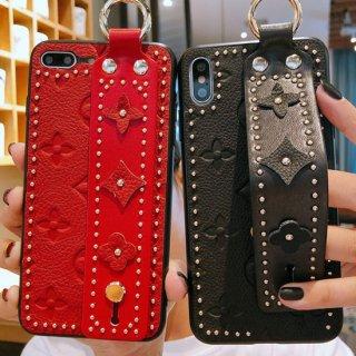 iPhone12 ケース iPhoneSE2 iPhone11 iPhoneXR iPhoneXS カバー フラワー モノグラム 花 スタッズ  革 レザー ベルト
