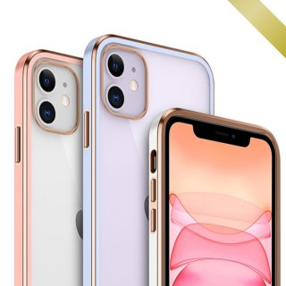 iPhone ケース クリア iPhone12 Pro Max mini iPhone11 Pro iPhoneSE2 iPhoneXS Max iPhoneXR 耐衝撃 金縁 スリム おしゃれ 透明