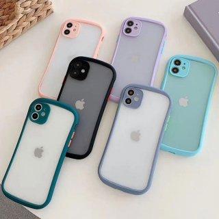 iPhone12 ケース iphonsSE2 iPhone11 iPhone8 iPhoneXR iPhoneXS スマホ 携帯 ケース カバー 半透明 Sライン カーブフレーム シンプル クリア