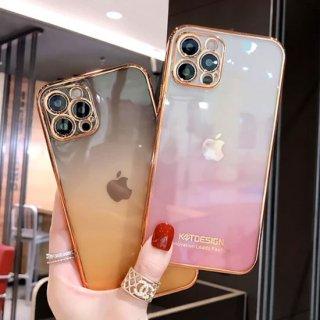 iPhone12 mini Pro Max ケース iPhone11 iPhoneSE2 スマホ 携帯 ケース カバー 韓国 流行り おしゃれ カメラ保護 レンズ保護 クリア 透明 パステル グラデ