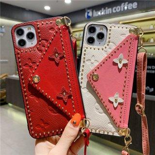 iPhone12 mini Pro Max ケース iPhone11 Pro iPhoneSE2 スマホ 携帯 ケース カバー 韓国 流行り おしゃれ 革 レザー ストラップ ショルダー カード収納