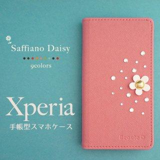 Xperia スマホケース 手帳型 Xperia10 Xperia8 Xperia5 Xperia1 XZ3 XZ2 エクスペリア サフィアーノ PUレザー デイジー ベルトなし