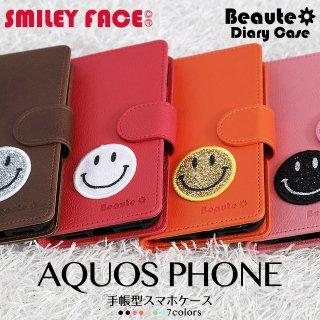 AQUOS PHONE ZETA Crystal ケース アクオスフォン 手帳型 スマホケース ボーテ スマイリーフェイス ベルト付き スマイリー