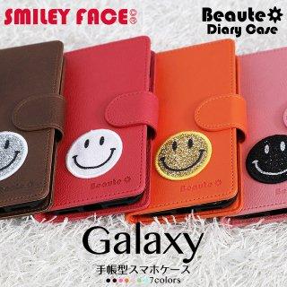 GALAXY ケース ギャラクシー Note Edge 手帳型 スマホケース GALAXYカバー ボーテ スマイリーフェイス ベルト付き スマイリー