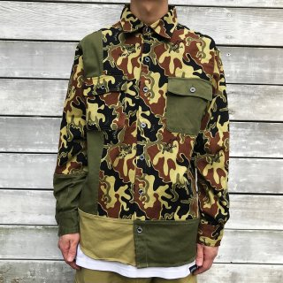 <img class='new_mark_img1' src='//img.shop-pro.jp/img/new/icons2.gif' style='border:none;display:inline;margin:0px;padding:0px;width:auto;' />【LEFLAH】bi-color military shirt(KAH)