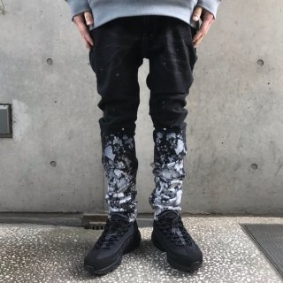 【LEFLAH】paint skinny denim(BLK)
