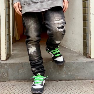 <img class='new_mark_img1' src='//img.shop-pro.jp/img/new/icons2.gif' style='border:none;display:inline;margin:0px;padding:0px;width:auto;' />【LEFLAH】damage repair skinny denim(BLK)