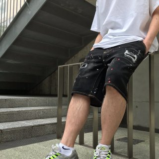 <img class='new_mark_img1' src='https://img.shop-pro.jp/img/new/icons1.gif' style='border:none;display:inline;margin:0px;padding:0px;width:auto;' />【LEFLAH】crash paint denim short pants(BLK)