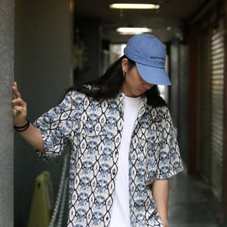【LEFLAH】snake no collar shirt(BLU)