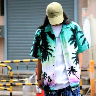 <img class='new_mark_img1' src='//img.shop-pro.jp/img/new/icons1.gif' style='border:none;display:inline;margin:0px;padding:0px;width:auto;' />【LEFLAH】Palm tree aloha shirt(GRN)※9月30日以降からのお届け