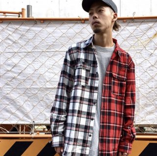 【LEFLAH】bi-color flannel check shirt(WHT/RED)