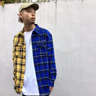 【LEFLAH】bi-color flannel check shirt(YEL/BLU)
