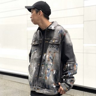 【LEFLAH】paint denim jacket(BLK)
