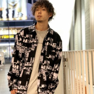【LEFLAH】total pattern shirt(BLK)
