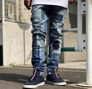 <img class='new_mark_img1' src='https://img.shop-pro.jp/img/new/icons1.gif' style='border:none;display:inline;margin:0px;padding:0px;width:auto;' />【LEFLAH】Hard repair skinny denim(L-BLU)