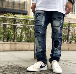 <img class='new_mark_img1' src='https://img.shop-pro.jp/img/new/icons1.gif' style='border:none;display:inline;margin:0px;padding:0px;width:auto;' />【LEFLAH】Hard repair skinny denim(NVY)