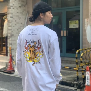 【LEFLAH】tiger long tee(WHT)