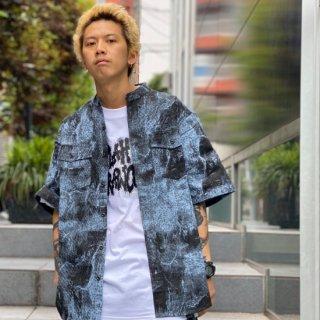 【LEFLAH】tie-dye nocollar short shirt(BLU)