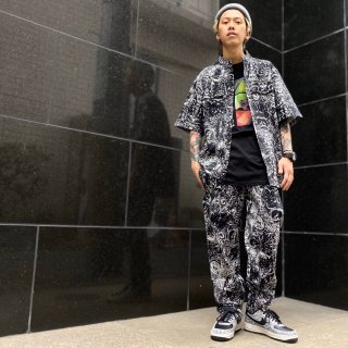 <img class='new_mark_img1' src='https://img.shop-pro.jp/img/new/icons1.gif' style='border:none;display:inline;margin:0px;padding:0px;width:auto;' />【LEFLAH】paisley pattern easy pants (BLK)