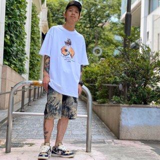 【LEFLAH】marble tie dye short pants(BEG)
