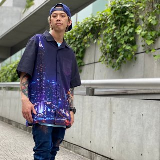 <img class='new_mark_img1' src='https://img.shop-pro.jp/img/new/icons1.gif' style='border:none;display:inline;margin:0px;padding:0px;width:auto;' />【LEFLAH】town pattern aloha shirt(NVY)