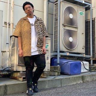 【LEFLAH】leopard pattern open collar shirt(BEG)