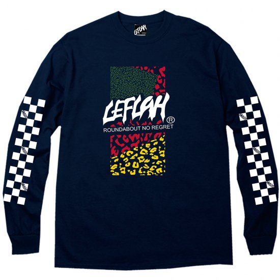 <img class='new_mark_img1' src='https://img.shop-pro.jp/img/new/icons2.gif' style='border:none;display:inline;margin:0px;padding:0px;width:auto;' />【LEFLAH】leopard logo long tee(NVY)