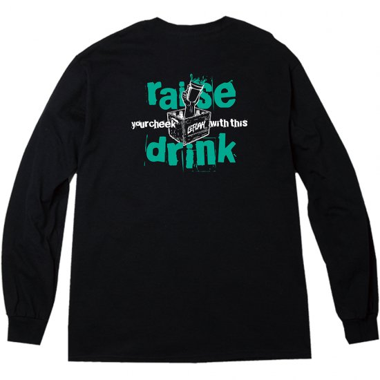 <img class='new_mark_img1' src='https://img.shop-pro.jp/img/new/icons1.gif' style='border:none;display:inline;margin:0px;padding:0px;width:auto;' />【LEFLAH】raise drink logo long tee(BLK)
