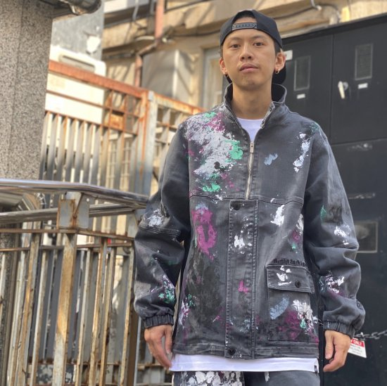 <img class='new_mark_img1' src='https://img.shop-pro.jp/img/new/icons1.gif' style='border:none;display:inline;margin:0px;padding:0px;width:auto;' /> 【LEFLAH】pullover-ish paint denim jkt(BLK)