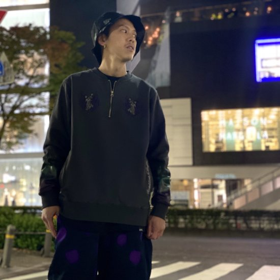 <img class='new_mark_img1' src='https://img.shop-pro.jp/img/new/icons1.gif' style='border:none;display:inline;margin:0px;padding:0px;width:auto;' />【LEFLAH】tiger half zip sweat (BLK)