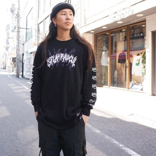 <img class='new_mark_img1' src='https://img.shop-pro.jp/img/new/icons1.gif' style='border:none;display:inline;margin:0px;padding:0px;width:auto;' />【LEFLAH】spine-chilling long tee(BLK)