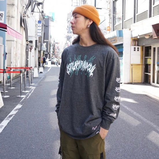 <img class='new_mark_img1' src='https://img.shop-pro.jp/img/new/icons1.gif' style='border:none;display:inline;margin:0px;padding:0px;width:auto;' />【LEFLAH】spine-chilling long tee(GRY)
