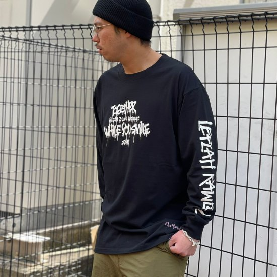 <img class='new_mark_img1' src='https://img.shop-pro.jp/img/new/icons1.gif' style='border:none;display:inline;margin:0px;padding:0px;width:auto;' />【LEFLAH】don't leave long tee(BLK) ※限定100個マスクストラップ付き