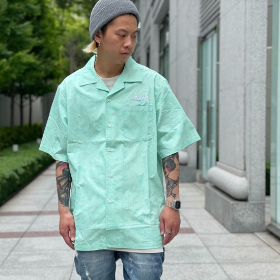 <img class='new_mark_img1' src='https://img.shop-pro.jp/img/new/icons1.gif' style='border:none;display:inline;margin:0px;padding:0px;width:auto;' />【LEFLAH】hand sign pattern open collar shirt (GRN)