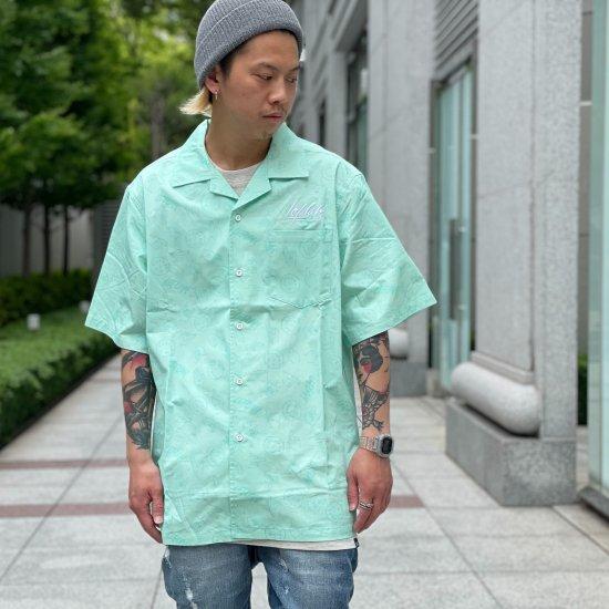 【LEFLAH】hand sign pattern open collar shirt (GRN)