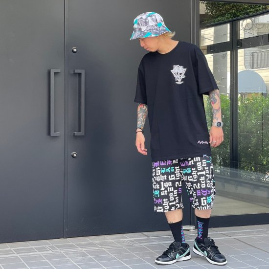 <img class='new_mark_img1' src='https://img.shop-pro.jp/img/new/icons1.gif' style='border:none;display:inline;margin:0px;padding:0px;width:auto;' />【LEFLAH】6ight 2ack 1gainst pattern short pants(BLK)