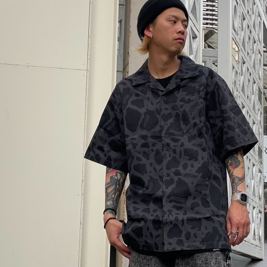【LEFLAH】cowflage open collar shirts (BLK)
