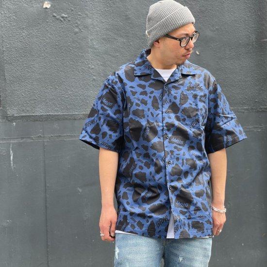 【LEFLAH】cowflage open collar shirts (BLU)