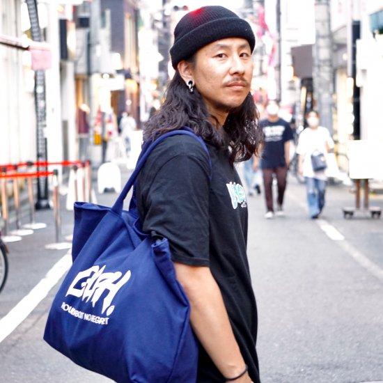 【LEFLAH】main logo canvas zip tote bag (NVY)