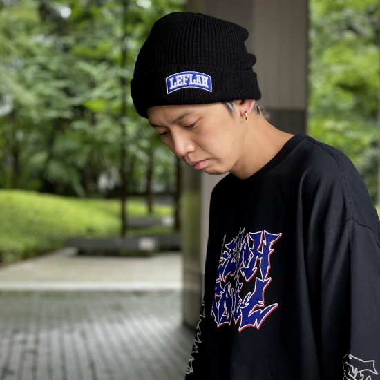 <img class='new_mark_img1' src='https://img.shop-pro.jp/img/new/icons1.gif' style='border:none;display:inline;margin:0px;padding:0px;width:auto;' />【LEFLAH】embroiled arch logo knit cap(BLK×BLU)